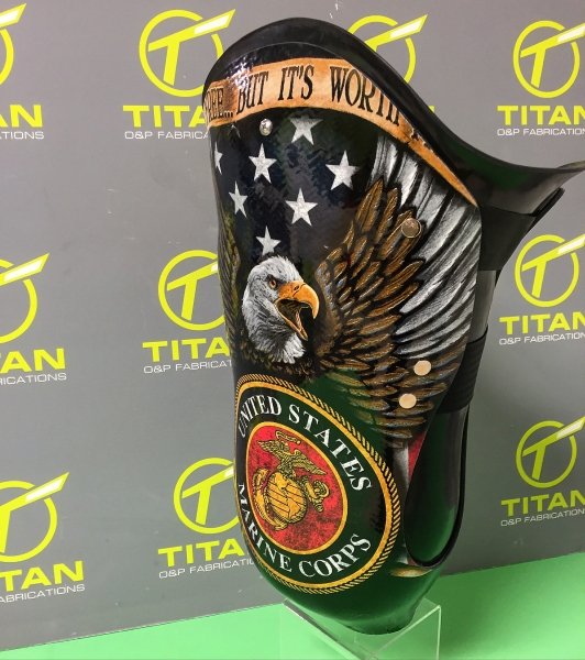 Transfemoral Laminated Socket with Marine Corp Bald Eagle Image